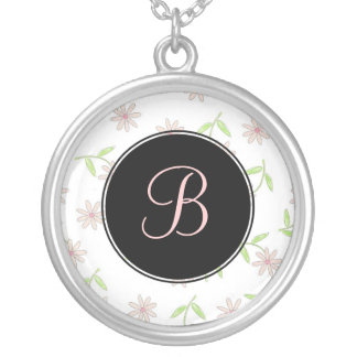 Pink Daisy Monogram Necklace - April Birth Flower