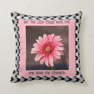 Pink daisy on B&W gingham, with scripture verse Throw Pillow
