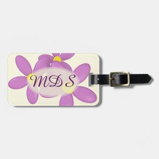 Pink Daisy on cream Custom Initials Luggage Tag