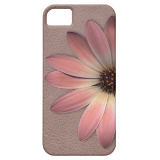 Pink Daisy on Taupe Leather Print Case For The iPhone 5