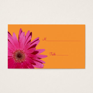 Pink Daisy Orange Special Occasion Place Card