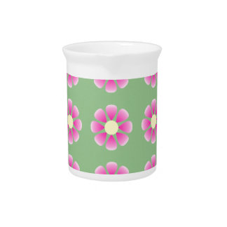 Pink daisy pattern pitcher