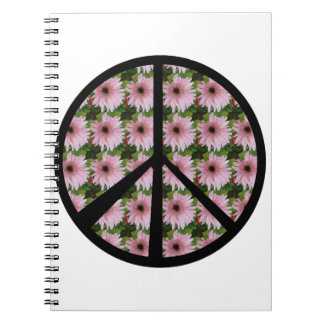 Pink Daisy Peace Sign Note Books