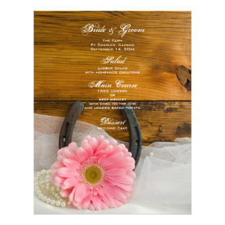 Pink Daisy Pearls Horseshoe Country Wedding Menu 21.5 Cm X 28 Cm Flyer