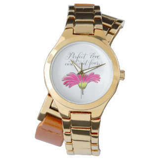 Pink daisy Perfect Love inspirational verse Watch