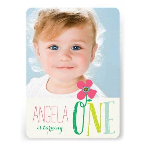 Pink Daisy Pop First 1st Birthday Photo Invite Announcements