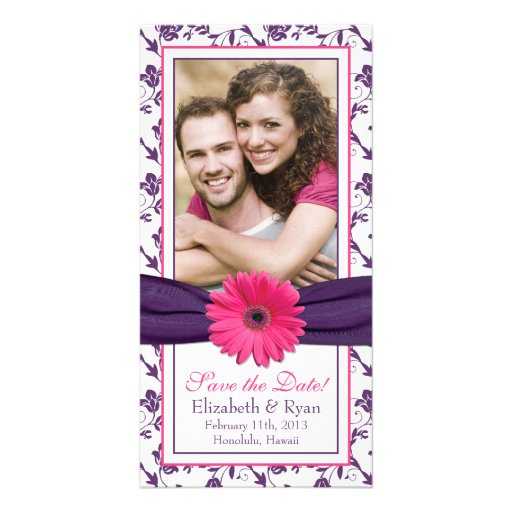Pink Daisy Purple Floral Ribbon Wedding Save Date Personalized Photo Card