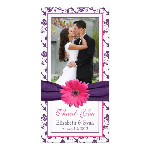 Pink Daisy Purple Floral Ribbon Wedding Thank You Custom Photo Card