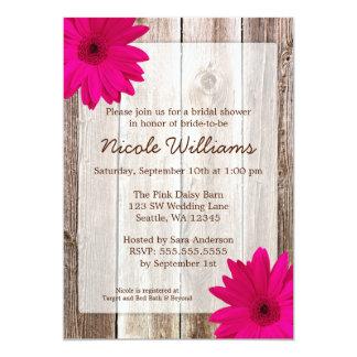 Pink Daisy Rustic Barn Wood Bridal Shower 13 Cm X 18 Cm Invitation Card