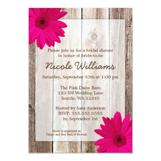 Pink Daisy Rustic Barn Wood Bridal Shower Custom Invites