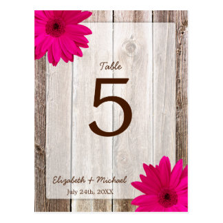 Pink Daisy Rustic Barn Wood Wedding Table Number Post Card