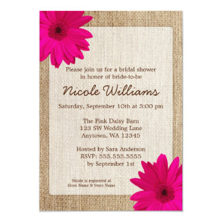 Pink Daisy Rustic Burlap Bridal Shower 13 Cm X 18 Cm Invitation Card