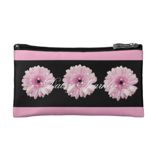 Pink Daisy Sparkle Small Cosmetic Bag