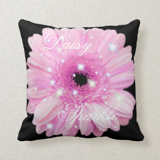 Pink Daisy Sparkle Throw Pillow
