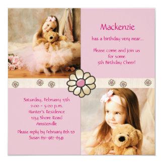 Pink Daisy Square - Photo Birthday Party Invitatio Card