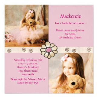 Pink Daisy Square - Photo Birthday Party Invitatio Invites