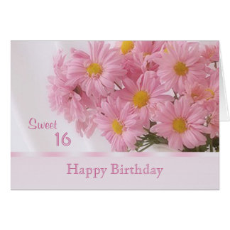 Pink daisy Sweet 16 Birthday card