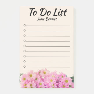 Pink Daisy To Do List Personalized Post-It Notes