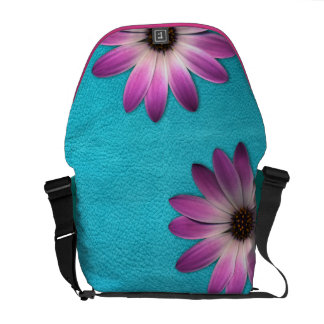 Pink Daisy-Turquoise Leather Texture RickshawBag Commuter Bags