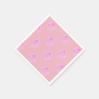 Pink Daisy ,White Standard Cocktail Paper Napkins