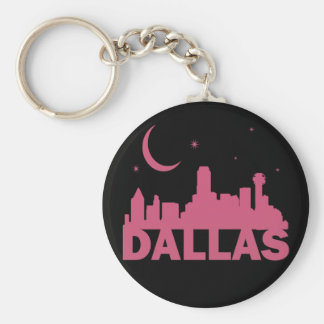 PINK DALLAS SKYLINE WITH MOON & STARS BASIC ROUND BUTTON KEY RING