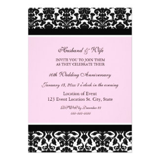 Pink Damask 10th Anniversary Party Invitation