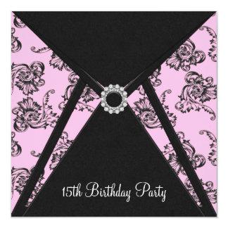 Pink Damask 15th Birthday Party Invitation