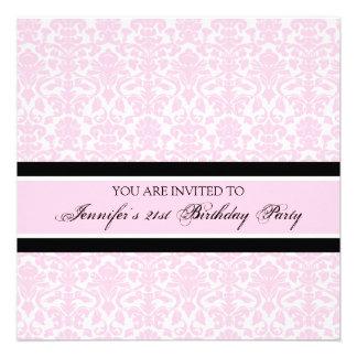 Pink Damask 21st Birthday Party Invitations