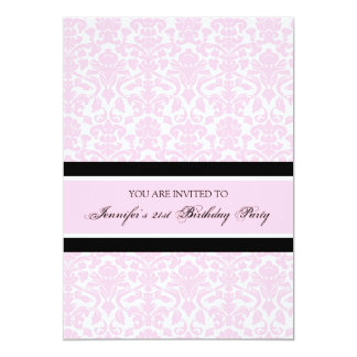 Pink Damask 21st Birthday Party Invitations