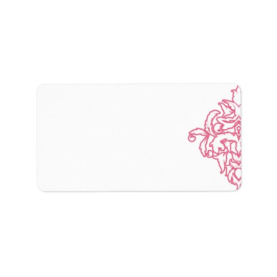 Pink Damask Address Label