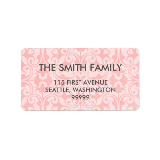 Pink Damask Address Labels