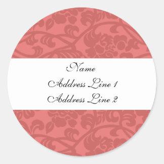 Pink Damask Address Labels Round Stickers