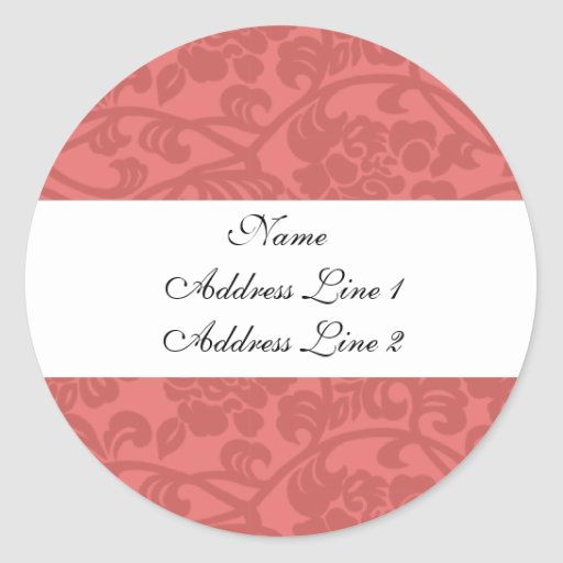 Pink Damask Address Labels Round Stickers