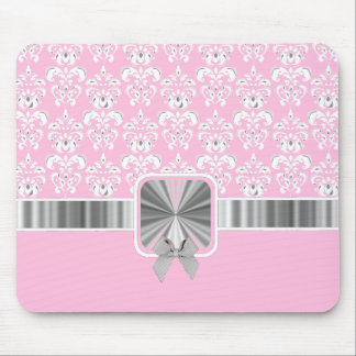 Pink damask and bow mouse pad