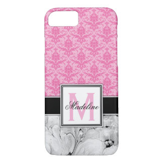 Pink /Damask and Marble Monongram iPhone 8/7 Case