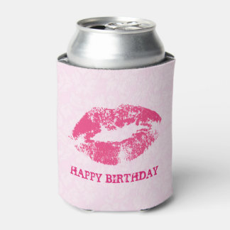 Pink Damask And Pink Lips Can Cooler