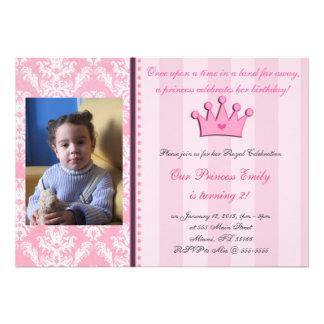 Pink Damask And Stripes Princess Photo Invitation