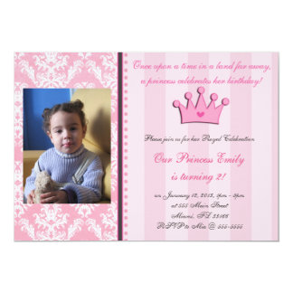 "Pink Damask And Stripes Princess Photo Invitation 5"" X 7"" Invitation Card"
