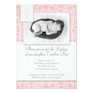 Pink Damask Baby Girl Baptism Invitation