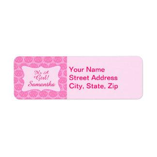 Pink Damask Baby Girl Name Personalized Birth Return Address Label