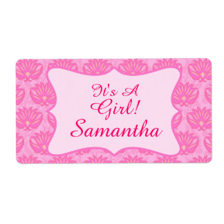 Pink Damask Baby Girl Name Personalized Birth Shipping Label