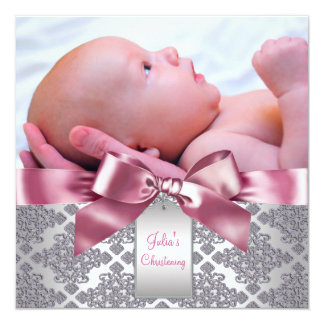 Pink Damask Baby Girl Photo Christening 13 Cm X 13 Cm Square Invitation Card