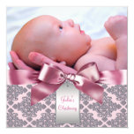Pink Damask Baby Girl Photo Christening Personalised Announcement