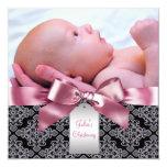 Pink Damask Baby Girl Photo Christening Custom Announcement