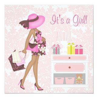 Pink Damask Baby Girl Shower Invitations