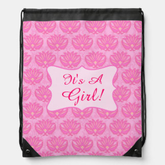 Pink Damask Baby Its a Girl Birth Annoucement Drawstring Backpack
