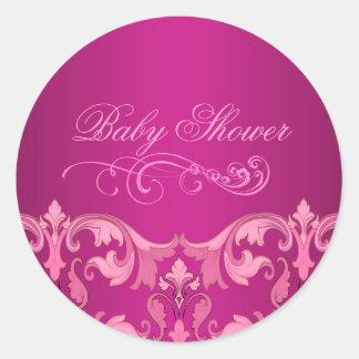 Pink Damask Baby Shower Envelope Sticker/seal Round Sticker