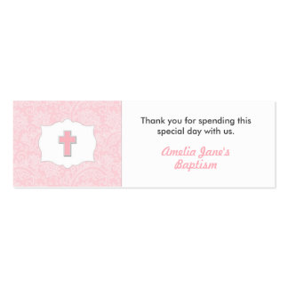 Pink Damask Baptism Favor Tag with Cross Pack Of Skinny Business Cards