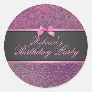 Pink Damask & Bow Envelope Sticker/seal Round Sticker