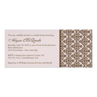"pink damask bridal shower invitation 4"" x 9.25"" invitation card"